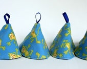 Pee Pee Cones for Baby Boys - Monkeys on Blue - Set of 4