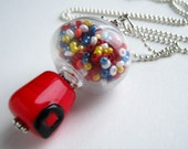 Bubble Gum Gumball Machine Handblown Glass Bead Necklace. Mini gum ball machine necklace.