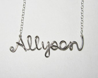 Custom Name Necklace. Personalized Sterling Silver Name Necklace. AzizaJewelry.
