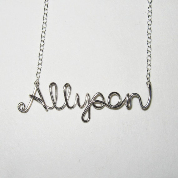 Sterling Silver Name Necklace. AzizaJewelry