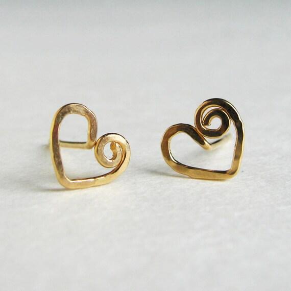14k Gold Fill Swirly Heart Studs. AzizaJewelry