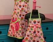 Mother Daughter Full Apron Set - Pink Cupcake Matching Aprons size 4T-6