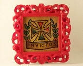 Miniature watercolor framed Iron Cross Invictus, Limited edition. Tattoo inspired. Old School.