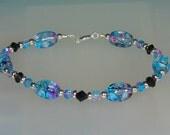 Cara beaded bracelet blue and black