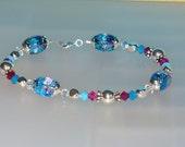Cara III beaded bracelet turquoise fuschia