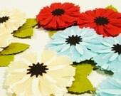 Buttercream Yellow Blue Red Paper Flowers, Wedding Favors, Paper Flower Scrapbook Embellishments