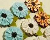 Blue White Copper Paper Flower Scrapbook Embellishments, Wedding Favor Paper Flower, Card Making Supplies