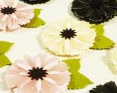 Pink Yellow Black Paper Wedding Flowers, Scrapbook Embellishments, Paris Wedding Gift Tag