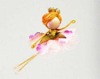 Waltz of the Flowers Ornament Nutcracker Doll, Waldorf Ballerina, Miniature Ballet Dancer