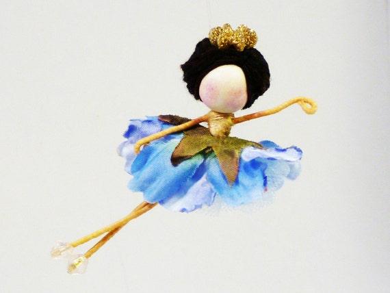 Nutcracker Ballerina Ornament, Blue Flower Fairy Doll, Brunette Brown Haired Doll, Waldorf Doll Ornament