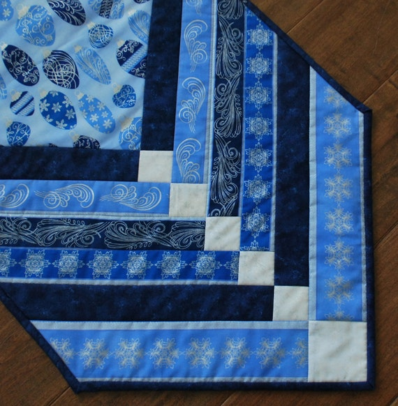 Elegant Quilted Table Runner Holiday chevron Silver and Blue 17 by 40