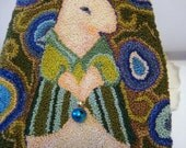 Punch Needle Rabbit in Blues, Greens and Teals, Original Handmade Ornament Or Wall Hanging
