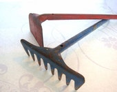 Vintage Childrens Toys Metal Rake And Hoe Blue And Red