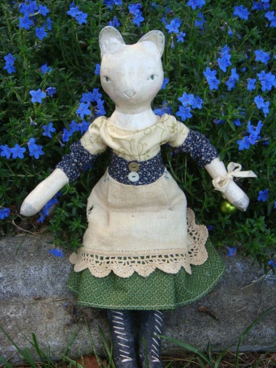 Handmade Cloth and Clay Doll, Alice