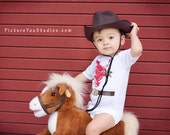 Cowboy Baby Onesie with Sheriff Badge and Six Shooter Belt- SIZE 6-12 MONTH