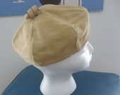 RESERVED for Lisa S Vintage Tan Suede Hat with Piggytail on Top