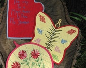 3 Vintage Embroidered Pot Holders