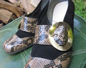 Stunning Black and Snakeskin Heels with Large Gold Buckle