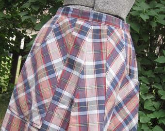 Cute Plaid A - Line Shirt with Big Pockets.