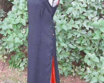Elegant Black Linen Dress with Side Slits and Bright Orange Lining