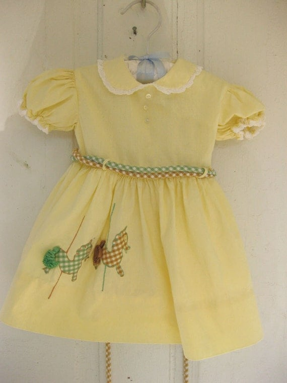 Cute Vintage Toddler Dress with Carousal Horses and Sash
