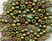 Frosted (Matte) Metallic Olive Rainbow Iris No. F463K, Japanese Glass Seed Beads, Size 8, 14g. - mbonan9