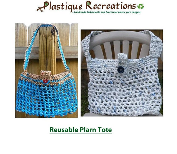 Crochet Plarn Tote Bag Pattern : Items similar to Crochet Pattern - Reusable Plarn Tote on Etsy