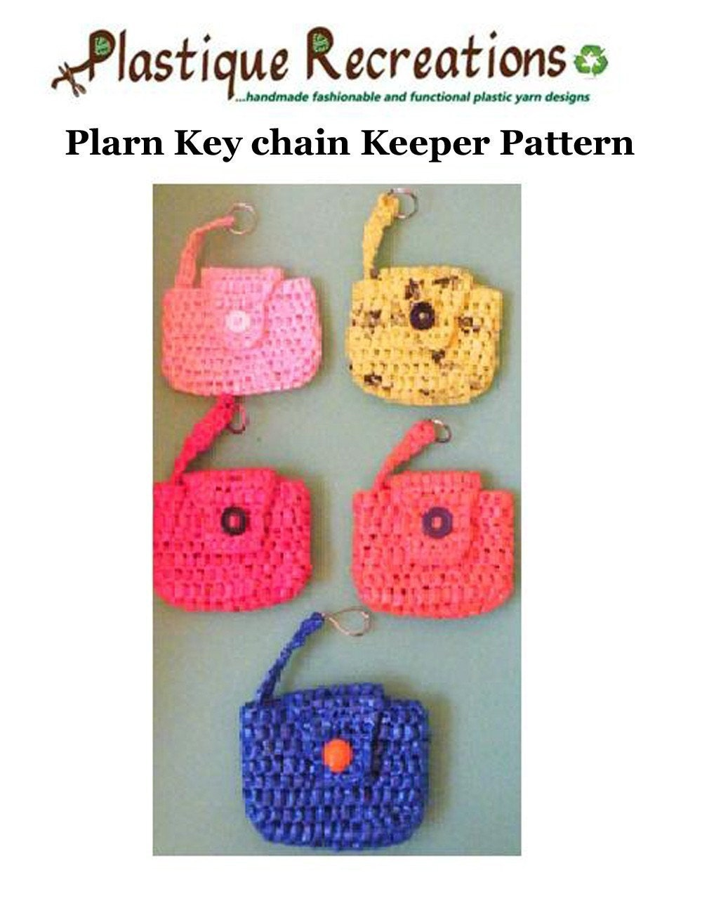 Crochet Purse Keychain Pattern : Crochet PDF Pattern Plarn Key chain Keeper by twooleydesigns