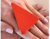 Fashion Cocktail Ring Ceramic - big bold oversize handmade - TANGERINE TANGO  - 2.3 inch