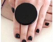 Ceramic Ring Handmade - big bold oversize adjustable cocktail ring  - BABY ROCK - 1.8 inch
