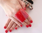 Statement Ring Glass  - big bold oversize handmade cocktail ring - RED and WHITE DELIGHT - 1.8 inch