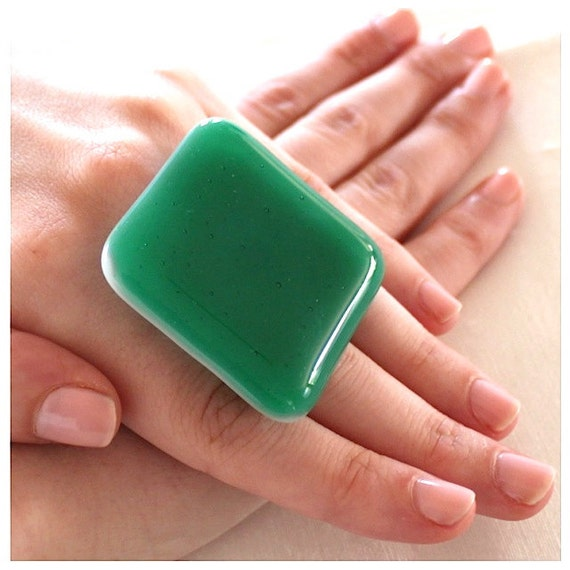 Emerald Glass Ring - Reserved for Hillary - big bold oversize handmade adjustable cocktail ring - EMERALD CITY  - 1.8 inch