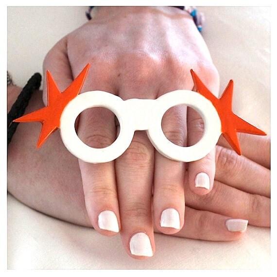 Sunglasses Ring Ceramic Jerseylicious - big bold oversize handmade - OLIVIA - 4.8 inches wide