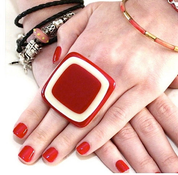 Cocktail Ring  Glass- big bold oversize handmade ring  - RAVISHING RED - 1.8 inch