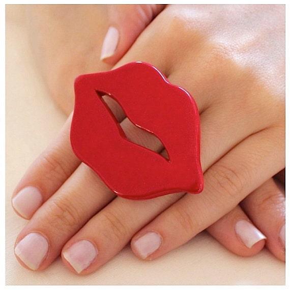 Lips Ring Red Ceramic - big bold oversize handmade - TALK THE TALK - 2.5 inch