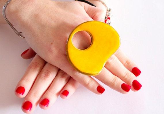 Bold Fashion Ring Ceramic - big bold oversized handmade cocktail ring -  BOLD and BEAUTIFUL- 2.5 inch
