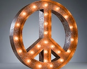 "Marquee Light Peace Sign - Rusty - 24"" Vintage Marquee Lights - The Original"