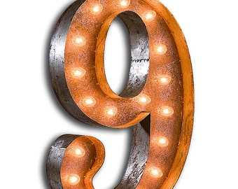 """Light Up Number 9 - Rusty - 24"""" Vintage Marquee Lights - The Original!"""