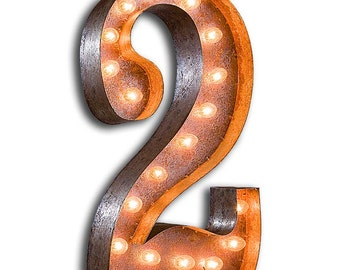 """Light Up Number 2 - RUSTY - 24"""" Vintage Marquee Lights-The Original!"""