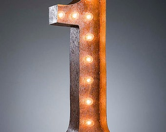 "Light Up Number 1 - Rusty - 24"" Vintage Marquee Lights - The Original!"