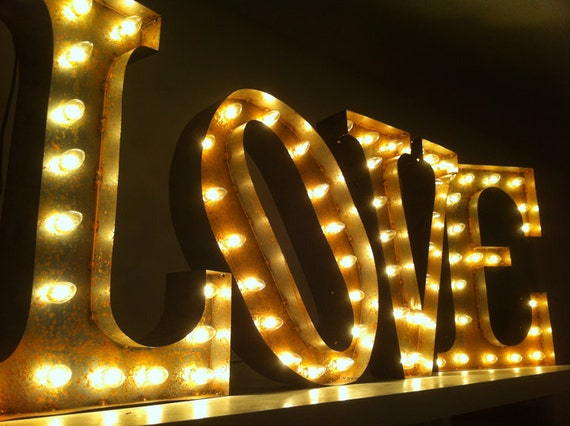 vintage marquee lights ready to ship love. Black Bedroom Furniture Sets. Home Design Ideas