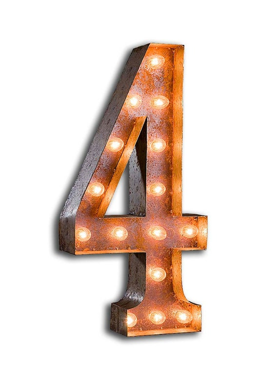 "Marquee Light Number 4 - RUSTY - 24"" Vintage Marquee Lights-The Original!"