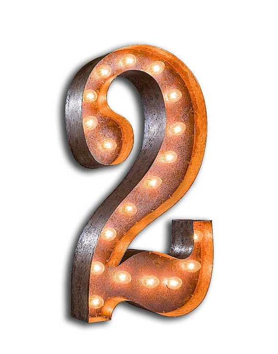 """Marquee Light Number 2 - RUSTY - 24"""" Vintage Marquee Lights-The Original!"""