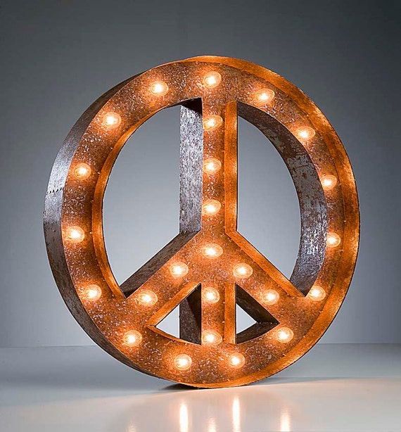 """Marquee Light Peace Sign - Rusty - 24"""" Vintage Marquee Lights - The Original"""