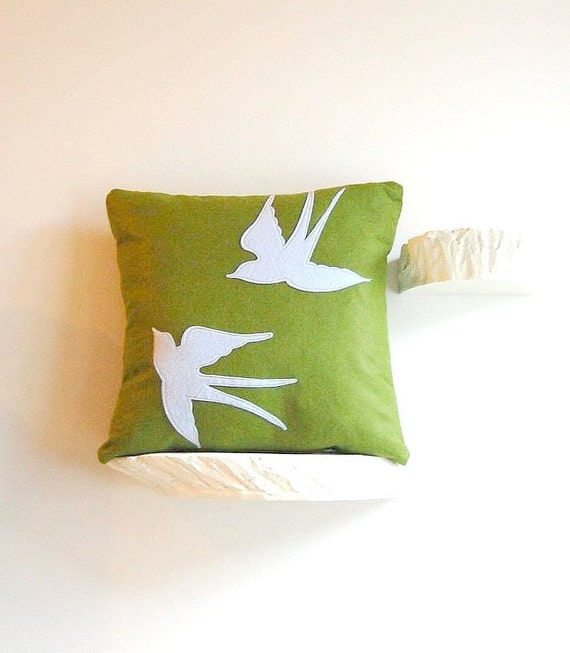 flying together swallows 20 inch wool felt pillow
