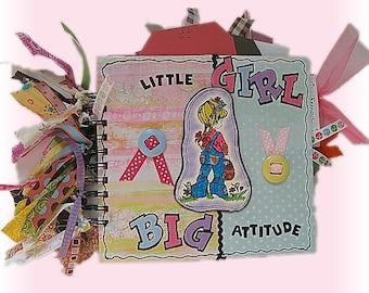 Girl Scrapbook, Premade Album, Colorful Scrapbook, Little Girl Album, Bright Colors, Girl with Attitude, Happy, Quirky, Mini Scrapbook Album