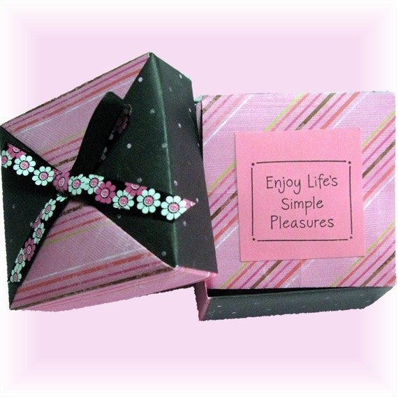 Mini Scrapbook in a Box, Pink and Black -Tea, photo, Gift Box-with accordian photo booklet