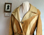 Reserved until Octber 15th Vintage 1970's two toned camel colored genuine suede and leather jacket with belt and gold buttons