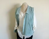Up-cycled pastel green blue pleated vest with buttons and collar