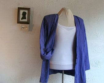 Vintage and handmade 1980's purple and black striped blazer - extra large